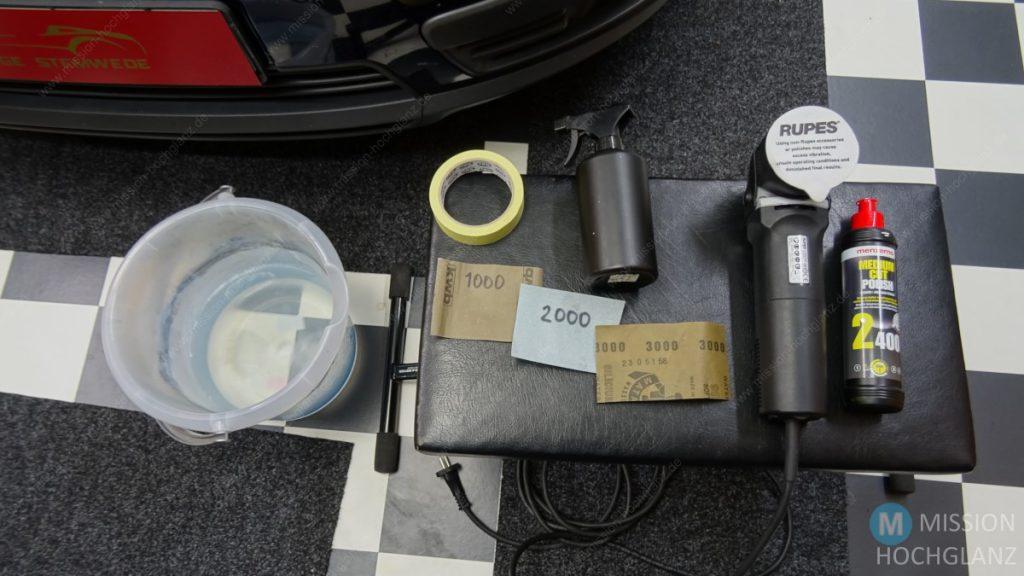 Materialbedarf für matte Scheinwerfer Aufbereitung